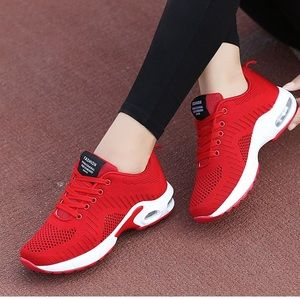 Fashion Red & White Clear-Accent Mesh Sneakers